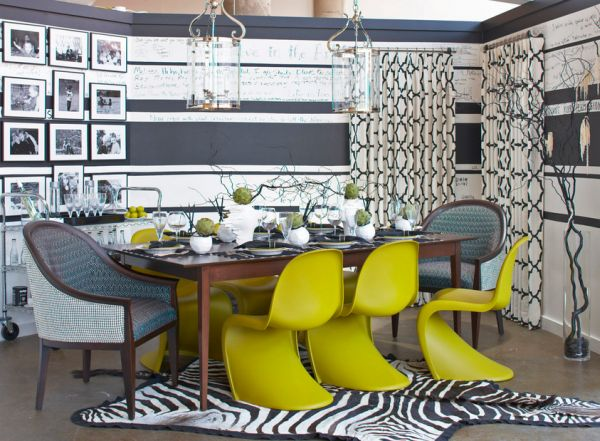 Panton-S-Chairs-in-green-yellow-spice-up-the-gray-dining-room