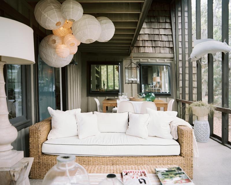 paper lantern and ratan sofa
