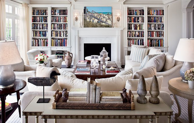 bookcase architectural digest hamptons home living room built book shelves
