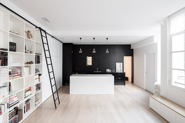 small black white apartment paris 1