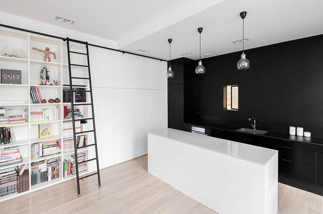 small black white apartment paris 2