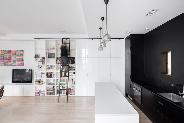 small black white apartment paris 3