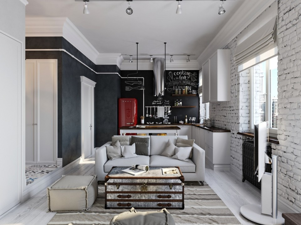 black white cozy apartment 1
