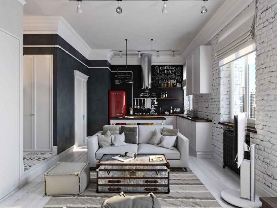 black white cozy apartment 1