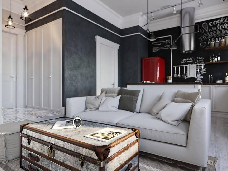 black white cozy apartment 2