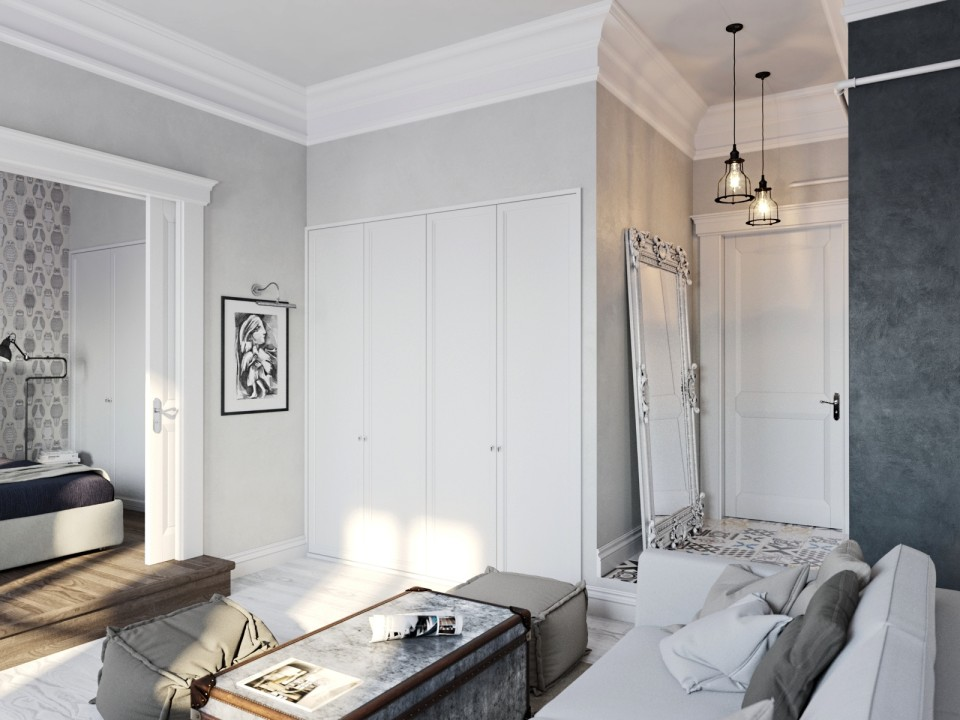 black white cozy apartment 3