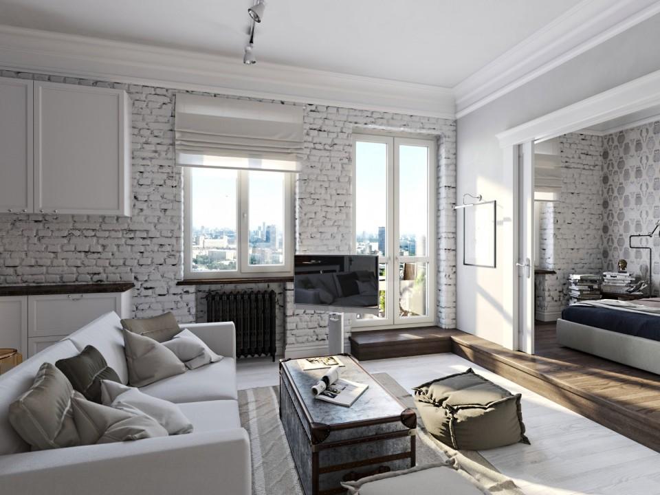 black white cozy apartment 4