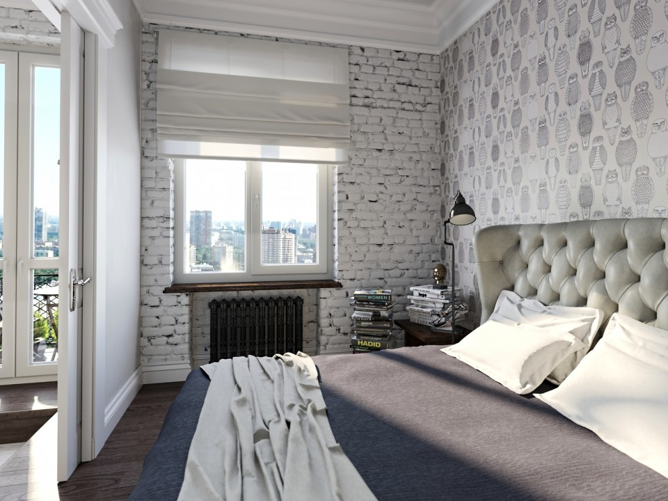 black white cozy apartment 6