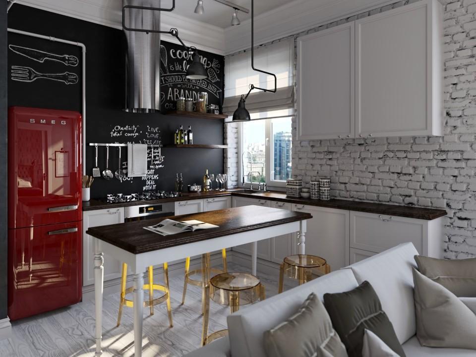 black white cozy apartment 7