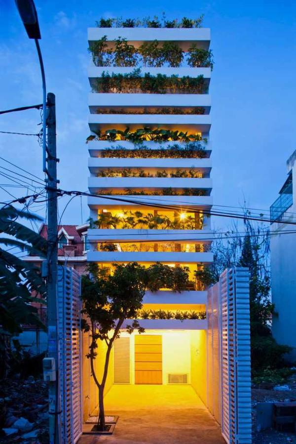house with green facade