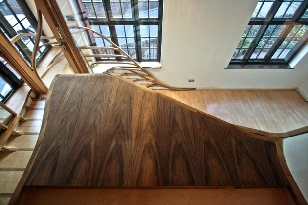 Organic Shaped Wooden Stairs