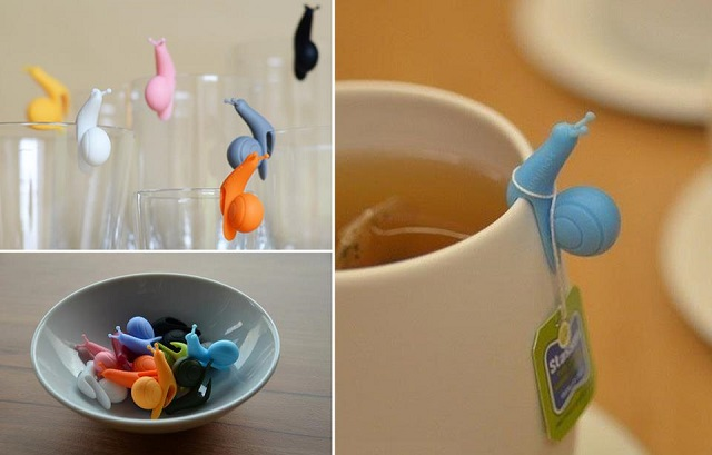 Silicone Snail Wineglass Label Or Teabag Holder